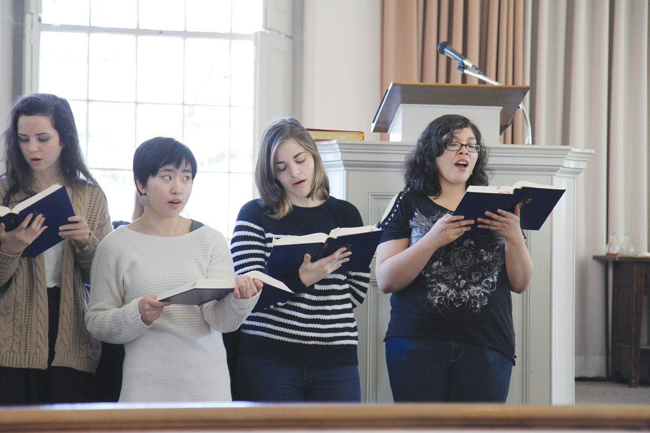 AN expression of faith: Members of the Brown-RISD Catholic Community Choir sing a Communion hymn during an Alumni Mass at Brown University's Manning Chapel on Feb. 28.