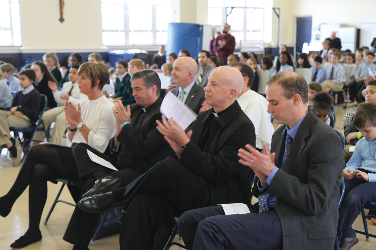 Principals and student representatives from several schools attended the ceremony, including five Providence elementary schools that will benefit from the Bishop Matthew Harkins Founder Fund, a new diocesan scholarship fund named for the founder of Providence College that will serve urban students with financial need.