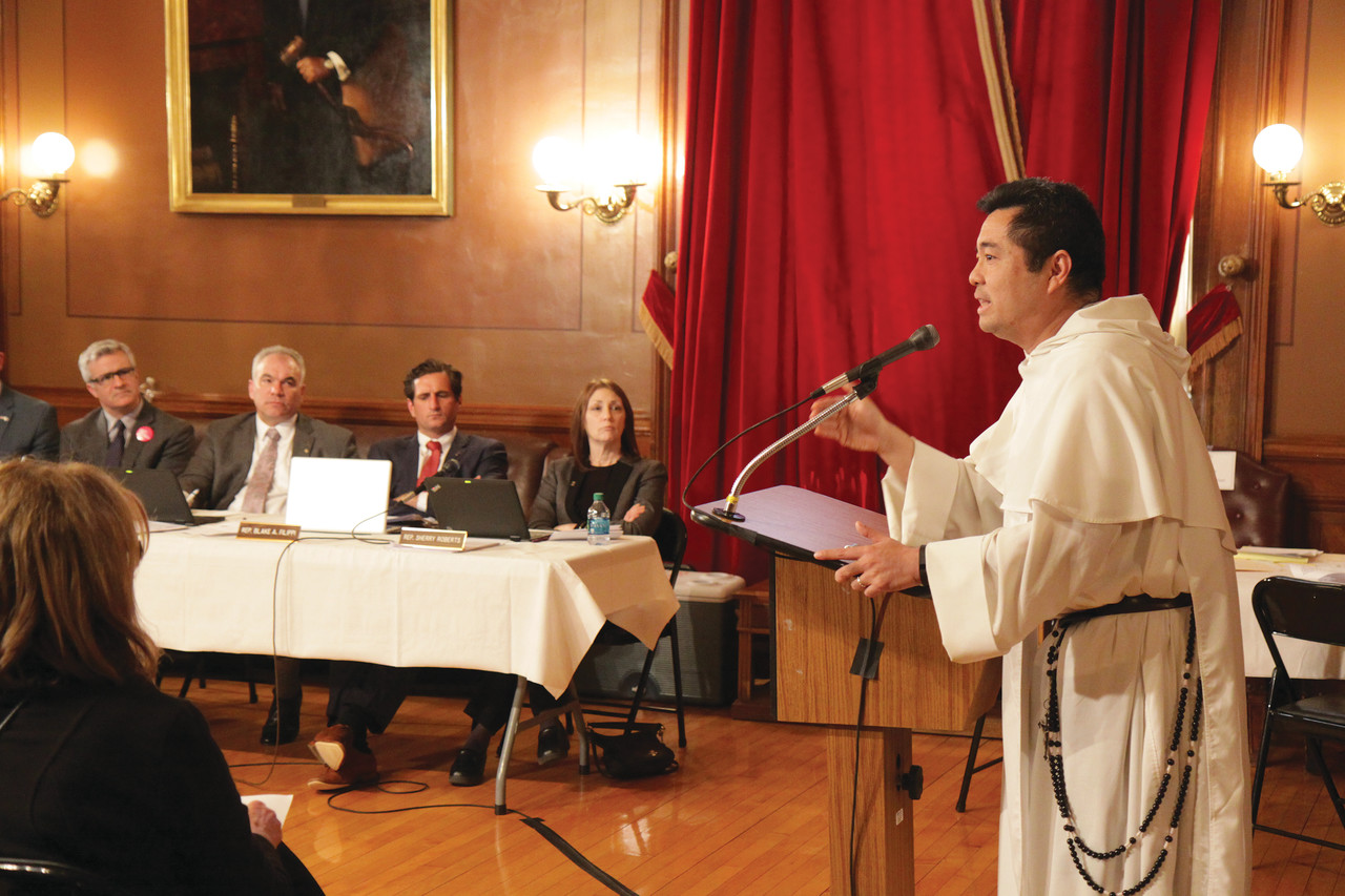 Father Nicanor Austriaco, a biologist and professor of bioethics at Providence College, testified against House Bill 5830, which would repeal current law requiring a woman to notify her spouse prior to receiving an abortion.