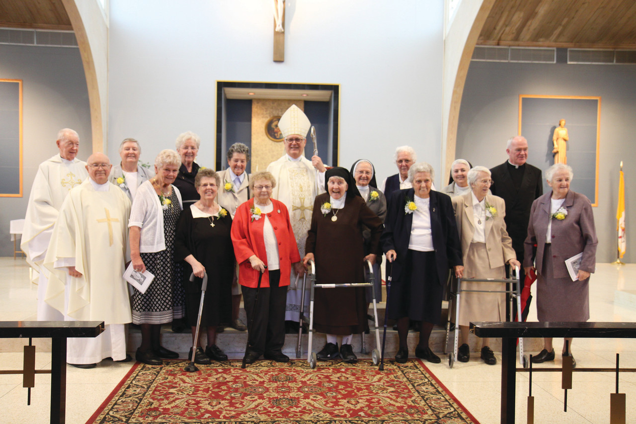 Religious priests, sisters and brothers celebrating jubilee anniversaries were honored during a Mass celebrated by Bishop Thomas J. Tobin at St. Kevin Church, Warwick, on Sunday.