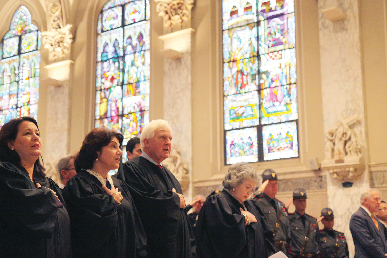 Members of the judiciary, lawyers and law enforcement officials gathered at Holy Ghost Church, Providence, last Wednesday for the celebration of the Red Mass, an annual tradition that invokes the blessings of the Holy Spirit upon a new judicial year.