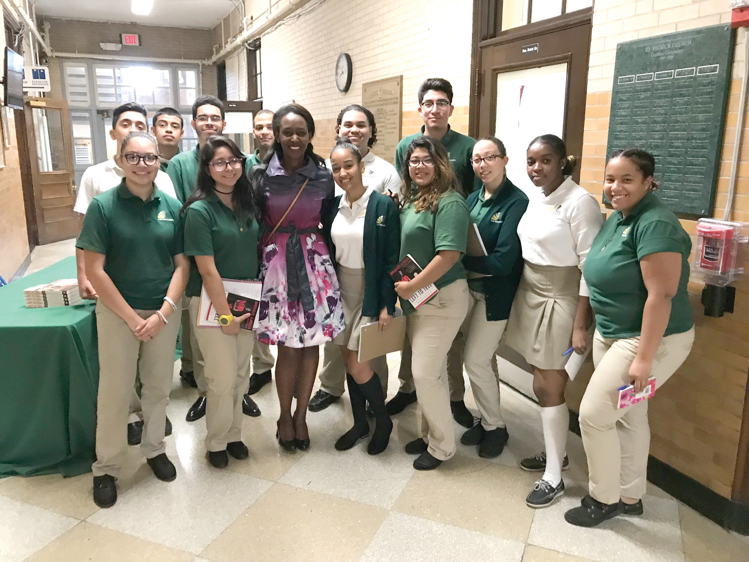 On October 11, Ilibagiza also visited St. Patrick Academy in Providence to talk to students, including five diocesan middle schools, St. Paul School, Woodlawn Catholic Regional, Blessed Sacrament School, Bishop McVinney School and St. Pius School.