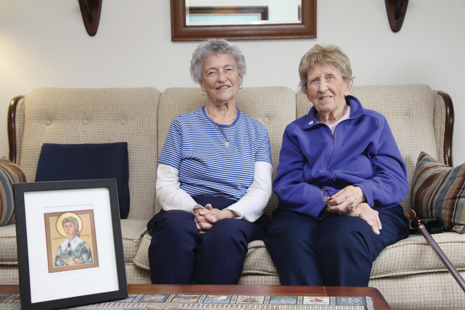 Sister Barbara Riley and Sister Fran Lynch are pictured in the Riverside apartment complex where they live. Though the Sisters of Mercy are retired from full-time ministry, they continue to promote their order's mission of service to those in need through prayer, advocacy and raising awareness of critical concerns.