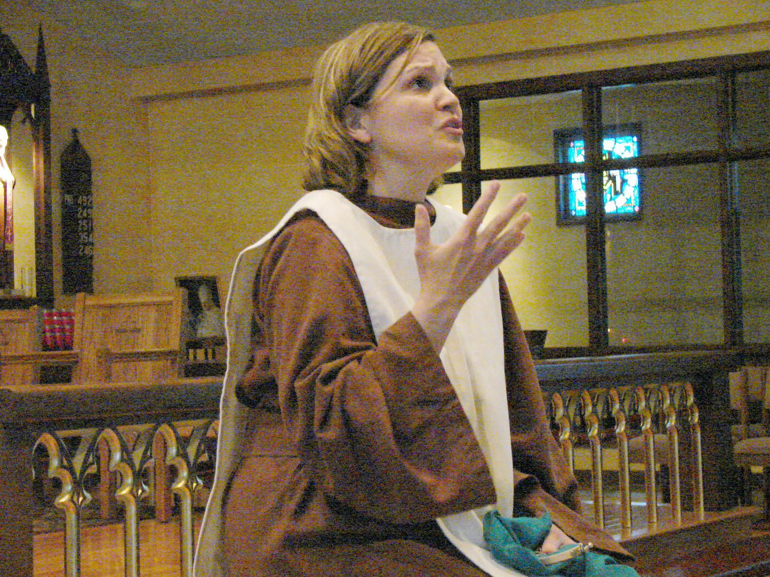Liz Montigny portrays the Blessed Virgin Mary in her original one-woman show, 'Our Mother's Call,' at Tiverton's Holy Ghost Church on May 4.