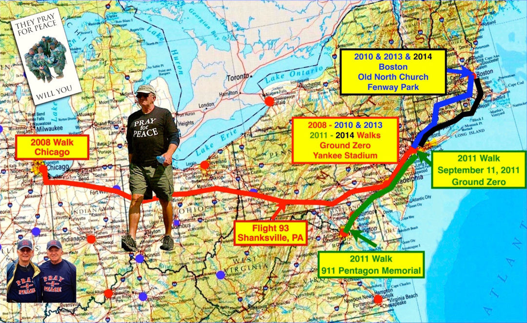 "A map features Al Forte's Peace Walk that he has traveled over the years in an effort to help spread the message of the importance of praying for peace in the United States and around the world. Forte will be wearing his famous ""Pray for Peace"" shirt as he takes on his next on foot adventure, which includes a stop in Rhode Island at the end of July into August."