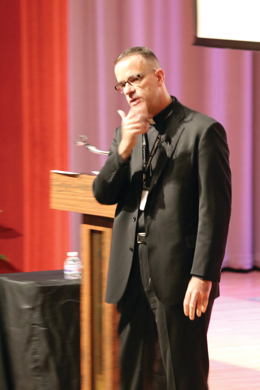 "Msgr. Brian Bransfield, a priest of the Archdiocese of Philadelphia, who was elected in 2015 to serve a five-year term as general secretary of the U.S. Conference of Catholic Bishops, presents a talk on ""Accompaniment for Those Who Experience Addiction,"" on Wednesday, July 11 on the stage at McVinney Auditorium."