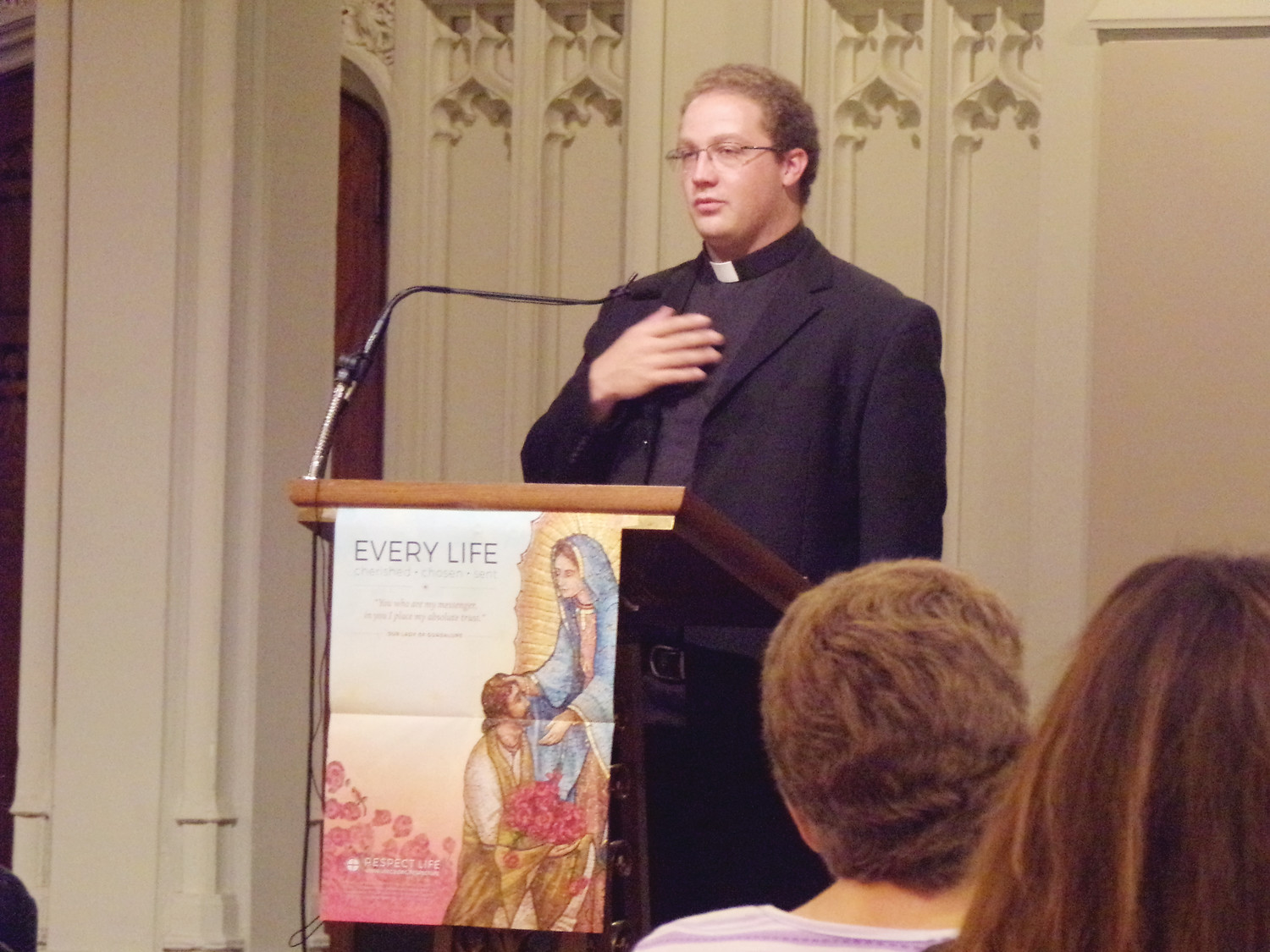 "Following Mass, there was a reception with Bishop Thomas J. Tobin in the cathedral hall with many presentations, including a talk by Father Nicholas Fleming, Human Life Guild chaplain, entitled, ""The Modern Debate – Understanding Transgenderism from a Catholic Perspective."""