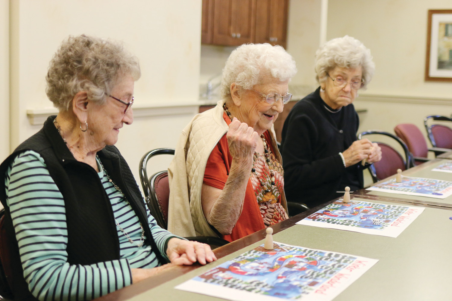 Residents of The Villa at Saint Antoine in North Smithfield enjoy an afternoon of Christmas games last week. The holidays at both The Villa and The Residence are filled with many activities for seniors to take part in each day.