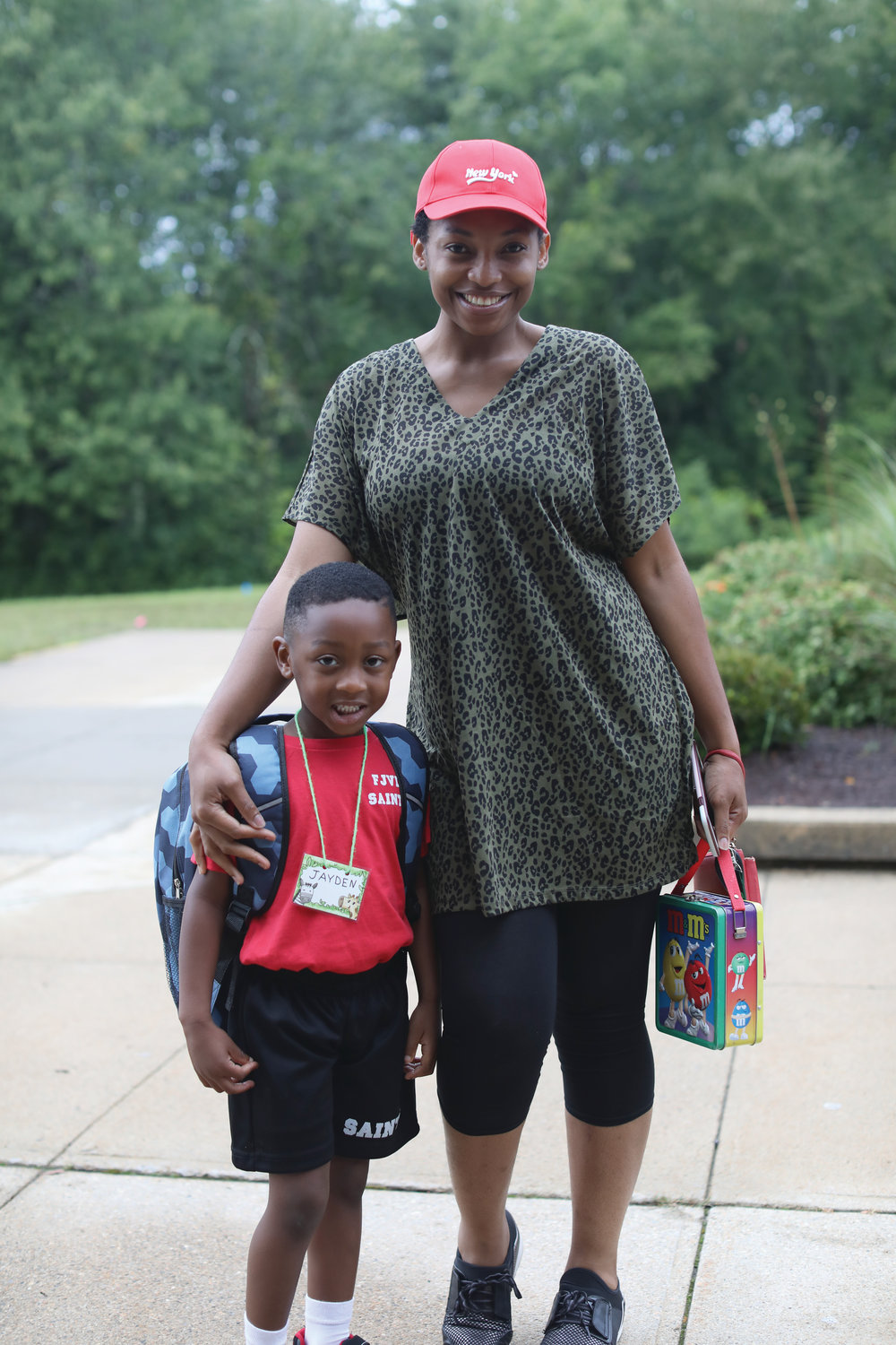 Families are all smiles on the first day of school at Father John V. Doyle, Coventry.