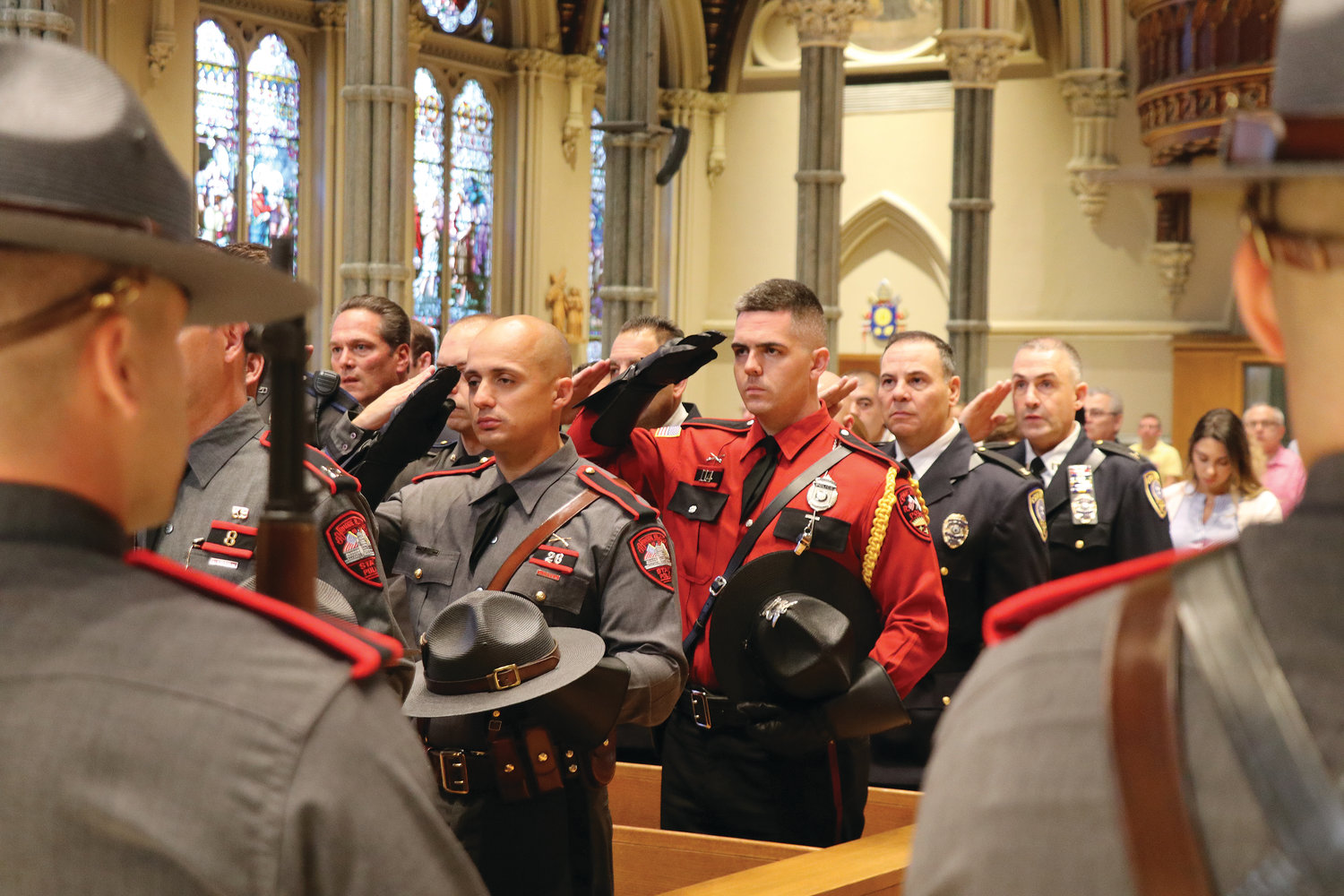 First responders gather for the Public Safety Mass at the Cathedral of SS. Peter & Paul.