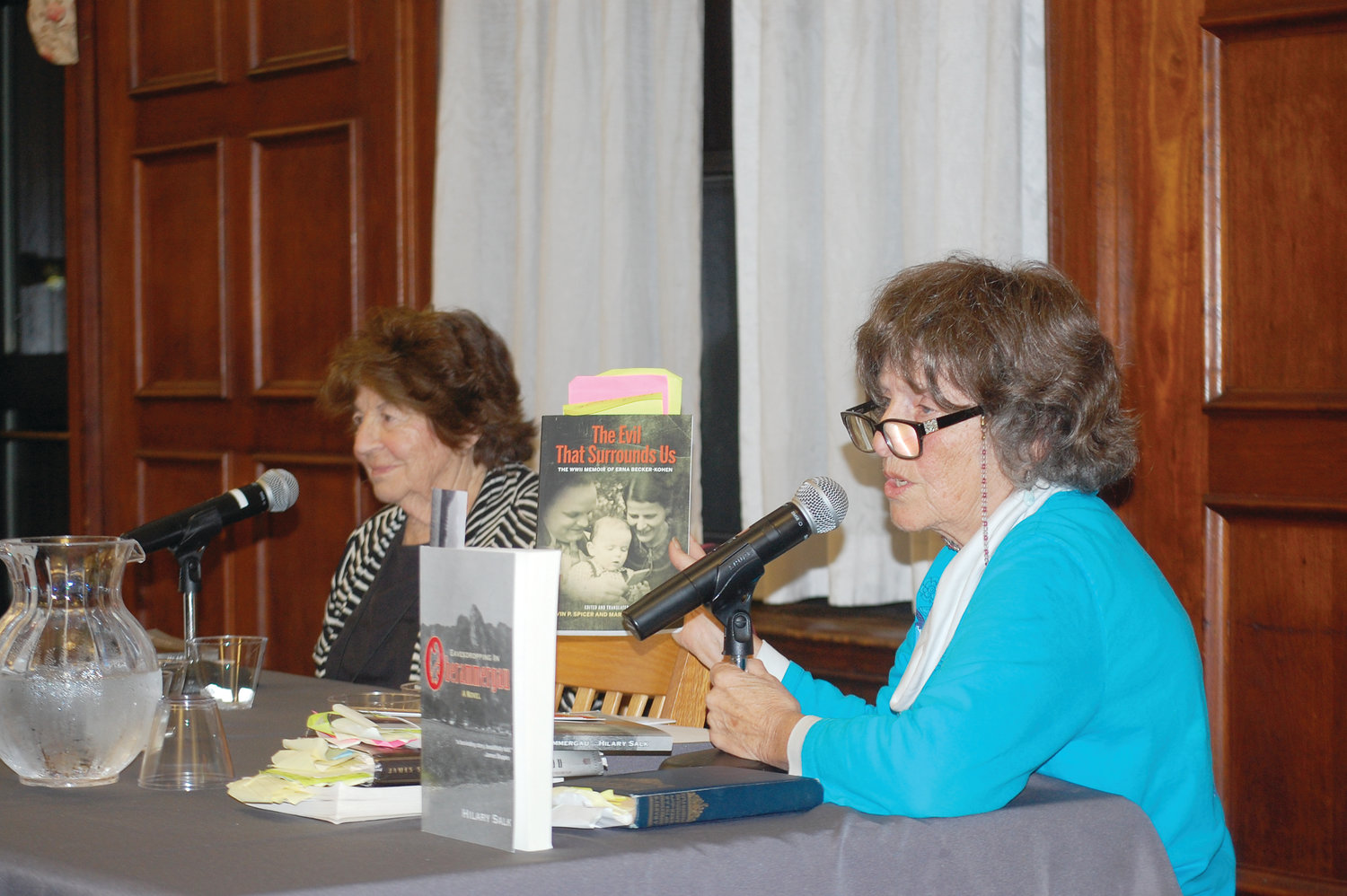 "From left, Judith Banki, senior advisor on Interreligious Affairs, Tanenbaum Center For Interreligious Understanding, and Hilary Salk, author of ""Eavesdropping in Oberammergau,"" speak at PC's Center for Catholic and Dominican Studies during the Jewish-Christian Theological Exchange on Oct. 24."