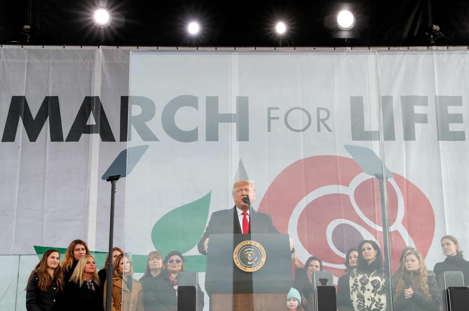U.S. President Donald Trump addresses thousands of pro-life supporters during the 47th annual March for Life in Washington Jan. 24, 2020. He is the first sitting president to address the pro-life event in person.