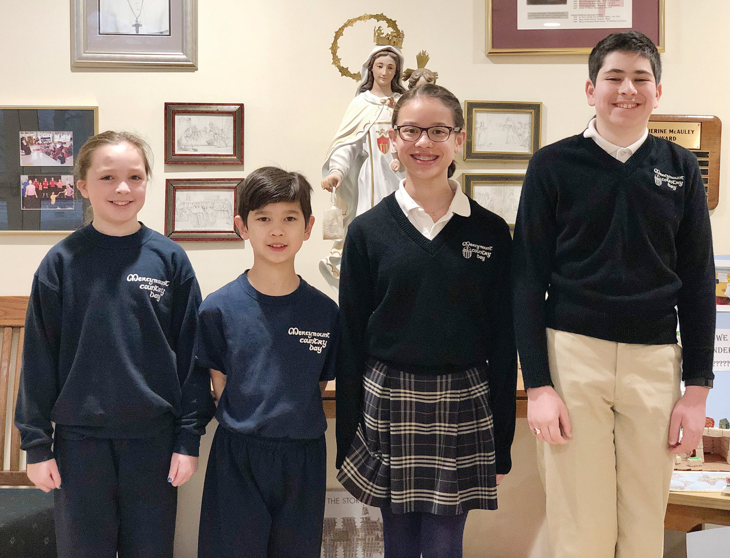 Mercymount Country Day School makes school history by having siblings win the school spelling bee. Leila and Jostan Sims took part in regionals. Fellow students Eva Matrullo and Alex Bove were also chosen as this year's alternates in the competition. Pictured from left, Eva Matrullo, Jostan Sims, Leila Sims and Alex Bove.