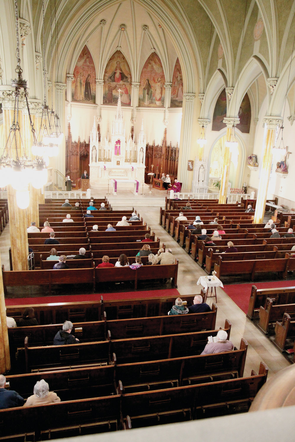 The interior of St. Charles is on display during a 2014 Mass. A special task force will recommend to Bishop Tobin a suitable future use of the building, which closed indefinitely on Jan. 13.