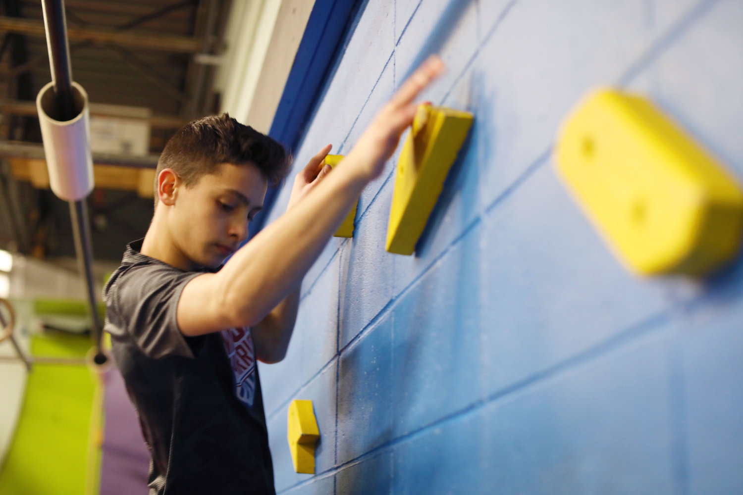 Carson Dean, 13, trains at his at his gym Laid-back Fitness in Warwick.