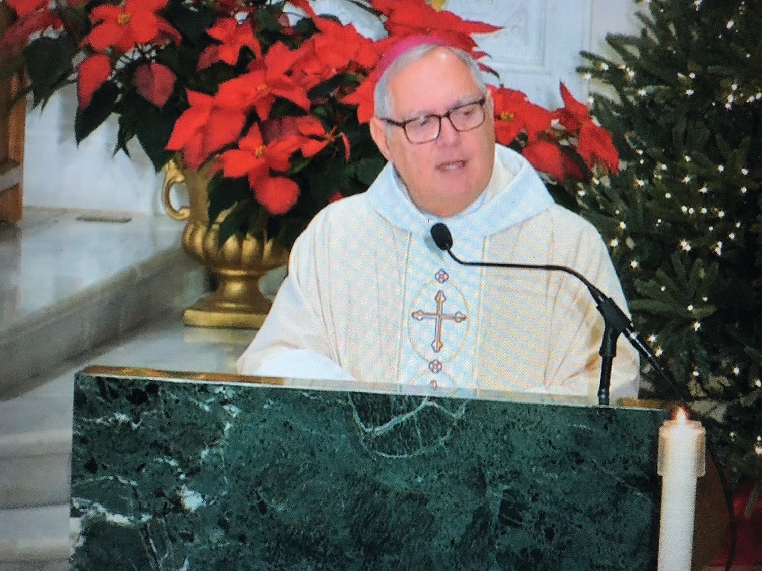 Bishop Thomas J. Tobin offers the faithful a message of renewed hope in his homily at the 10 a.m. Mass on Christmas morning at the Cathedral of SS. Peter and Paul.