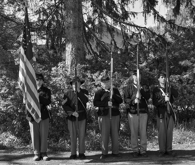 The Grand Army of the Republic held the first Memorial Day Parade in the Town of Fremont 135 years ago. The 143rd New York State Volunteer Infantry recreates that moment at the annual memorial service held in Veteran's Park prior to the parade.