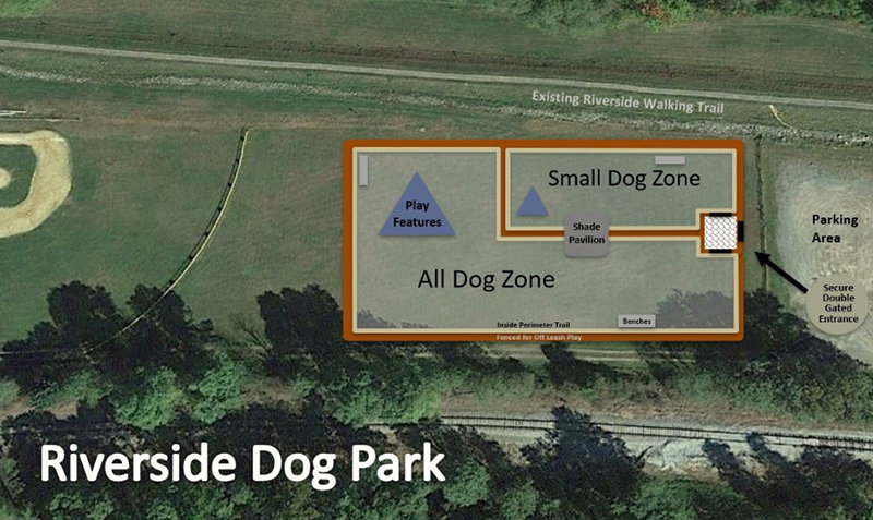 Photo provided by the Lake Region Community Dock Foundation  Proposed plans for Riverside Dog Park.