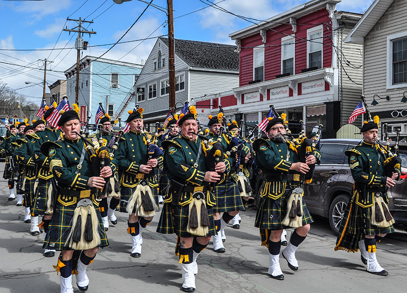 TRR photos by Jonathan Charles Fox  The Hudson Valley Regional Police Pipe Band was one of the highlights during last Saturday's St. Patrick's Day Parade in Jeffersonville, NY.
