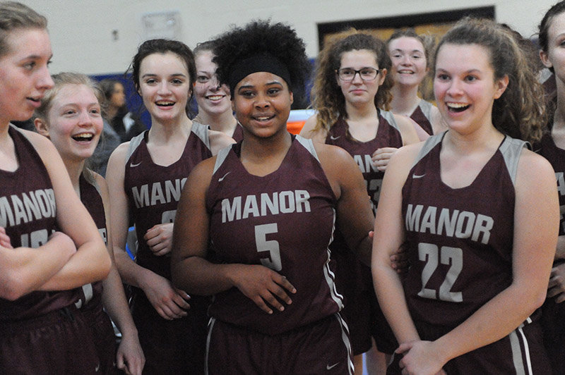 TRR photo by Ted Waddell    Manor's Lady Wildcats,after winning the Section IX Class D Championship Girls Basketball title, wentup against the Lady Knights of Smithtown Christian to battle it out in the 2018-2019 state championship.
