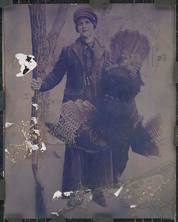Photos contributed by Chip Forelli  Pheasant woman: This 1920 photo of Dora Miller, from Lewistown, PA, was taken for the magazine Game News    because the turkey was so large. Miller is Robert Evans' cousin's great-grandmother, and he brought the photo to Forelli    to have it restored.