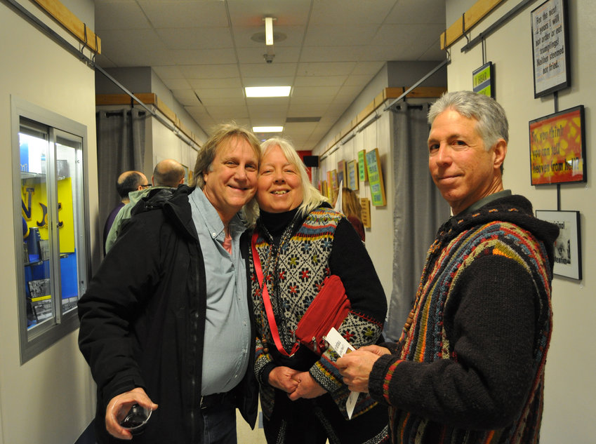 spotted artists Rocky Pinciotti, left, Candy Spilner and Allan Rubin at the 4 Art Gallery opening reception last Saturday. Artists supporting artists. Gotta love that.