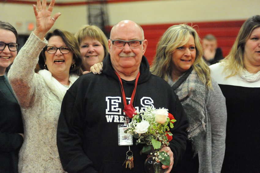 TRR Photos by Ted Waddell    Well done coach! Liberty's varsity wrestling coach John Lennon has been in the game of grapplers for 39 years – and counting.