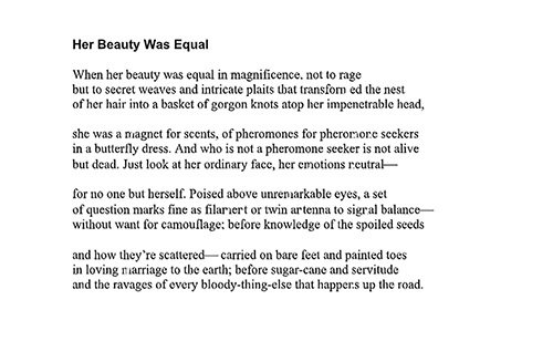 """Poem contributed by Karen Morris      This poem, called """"Her Beauty Was Equal,"""" by Karen Morris, """"goes well with the theme of #Metoo and women's issues related to power differentials and the limitations imposed on language by experiences of that power differential,"""" she said."""
