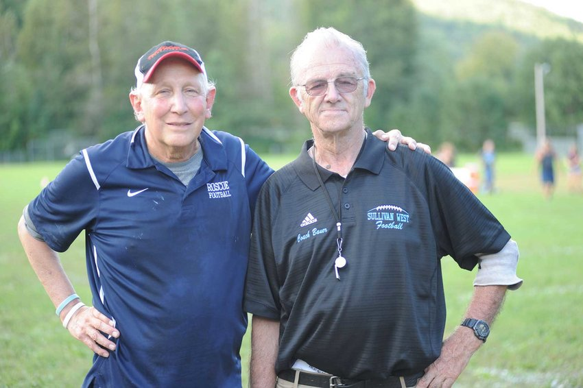 TRR photos by Ted Waddell      102 years and counting. Roscoe's Fred Ahart has been coaching high school sports for 50 years, while Ron Bauer of Sullivan West has been at the helm for 52 seasons.