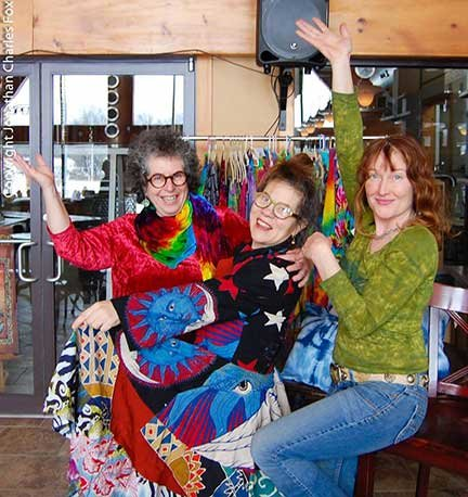 "TRR photos by Jonathan Charles Fox    Artists Adrienne Butvinik, left, Ramona Jan and Joan Nicole were a colorful trio during a recent ""pop-up"" show at the Catskill Distilling Co. in Bethel, NY."