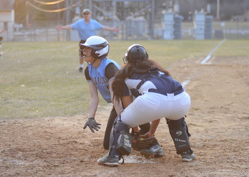 TRR photos by Ted Waddell    Appeal denied. Sullivan West's Josephine Martinez was called out at home despite an emotional appeal to the home-plate ump.