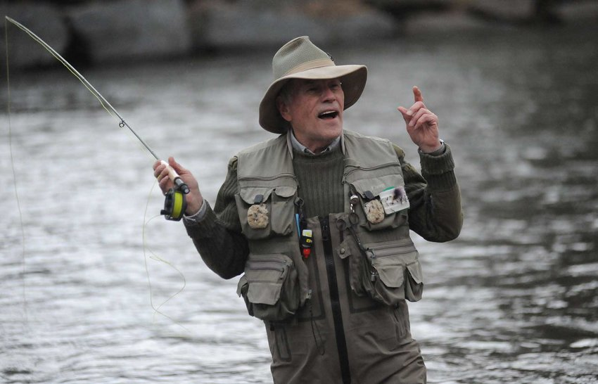 TRR photos by Ted Waddell    Cast master: Rick Miller of Roscoe was this year's celebrity guest caster. He just retired from a 30-year career as a professional outdoor guide.
