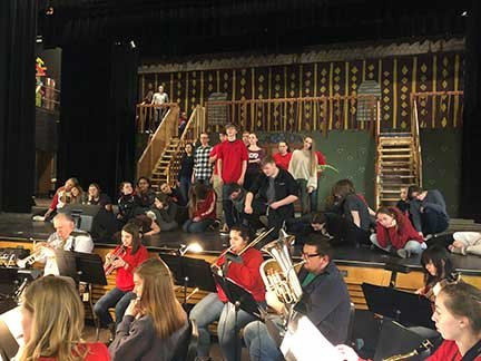 """Contributed photo    It takes a lot of people: a rehearsal featuring the cast and orchestra for the Honesdale High School production of """"The Addams Family"""""""