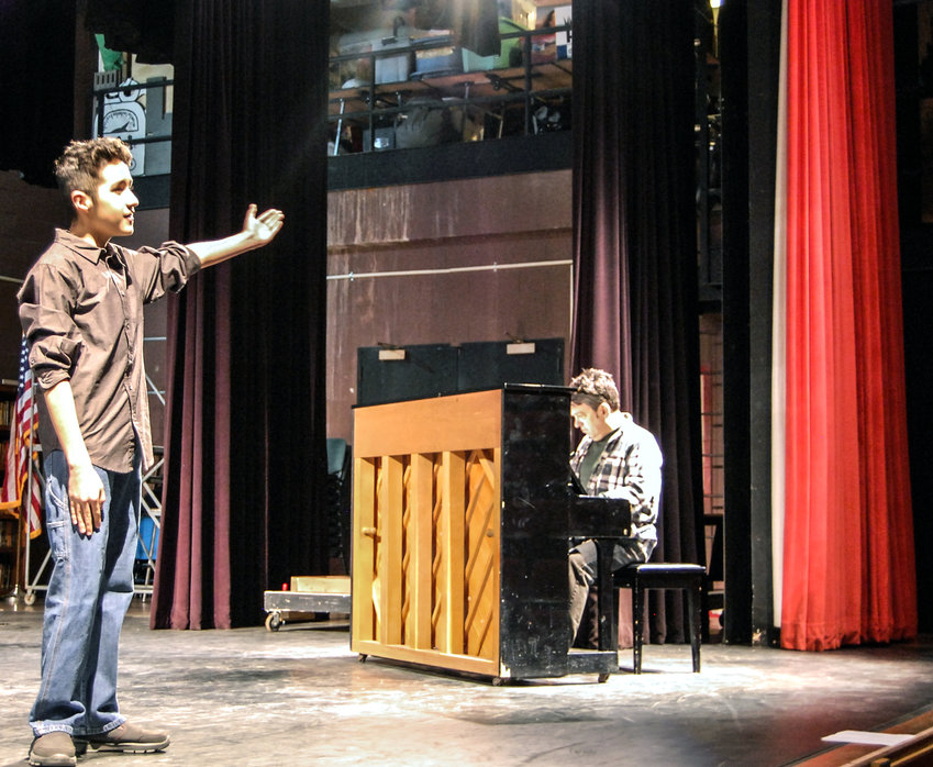 """TRR photos by Jonathan Charles Fox    Delaware Valley Middle School seventh grader Timothy Cortes sang a selection from """"Fiddler on the Roof"""" for his Forestburgh Playhouse audition at SUNY Sullivan's Seelig Theatre a few weeks ago."""