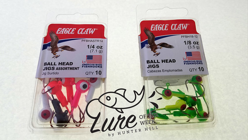 Photos by Hunter Hill    Seen here in package are 1/4 Oz. Assorted color Ball Head Jigs by Eagle Claw, left,  and 1/8 Oz. yellow green Ball Head Jigs by Eagle Claw.