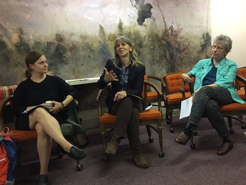 """Michele Archie, center, highlights """"Making Connections,"""" an economic study of the roots of prosperity of the Upper Delaware  Region, at the Friends of the Upper Delaware headquarters in Hancock on October 11. Tatiana Orlov, left, and Joy Oakes, right,  worked on the report for the National Parks Conservation Association."""