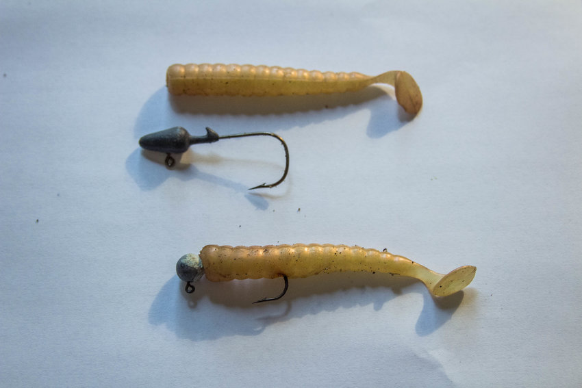 TRR photos by Amanda Reed    Unassembled swimbait or minnow rig above, and assembled rig bleow. Note the paddle tail that catches water and wiggles as it is reeled in.
