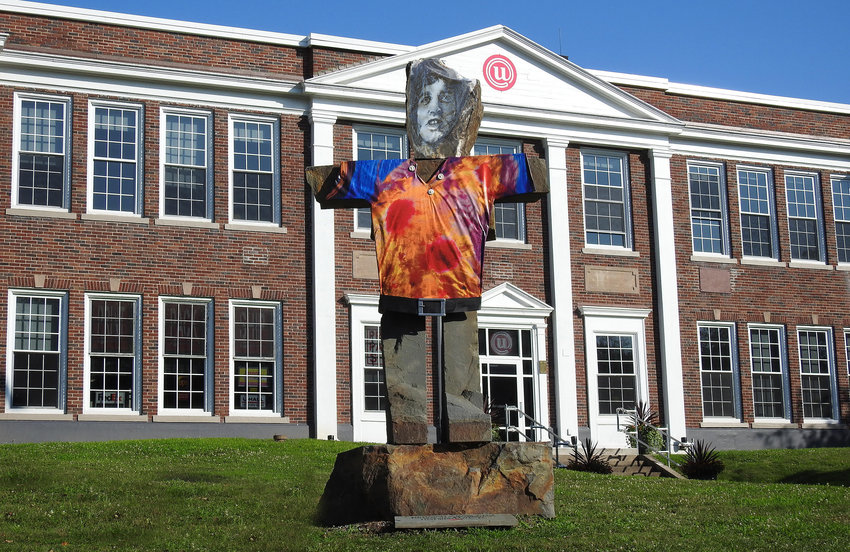 A stone man with the face of Joe Cocker graces the lawn of the Narrowsburg Union.