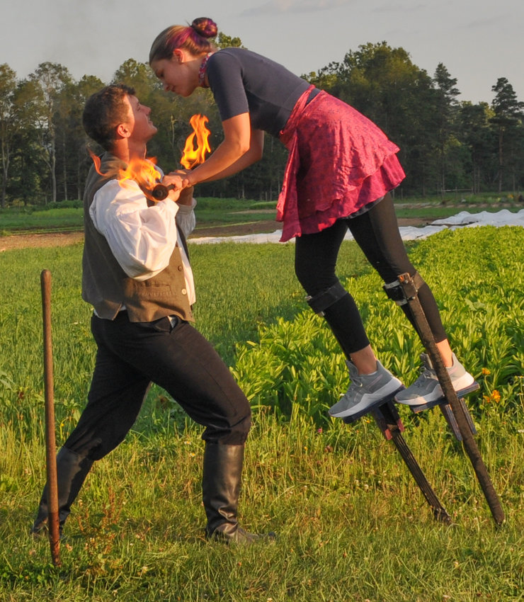 Bobby Skotch, left, and Raina Bowers play Romeo and Juliet with a fiery twist.