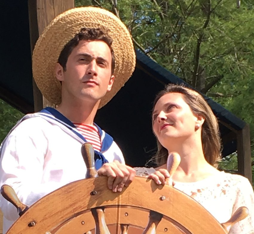 "Cole Tornberg as Ralph, left, and Elise Mark as Josephine set sail in Delaware Valley Opera's summer crowd pleaser, ""H.M.S. Pinafore."""