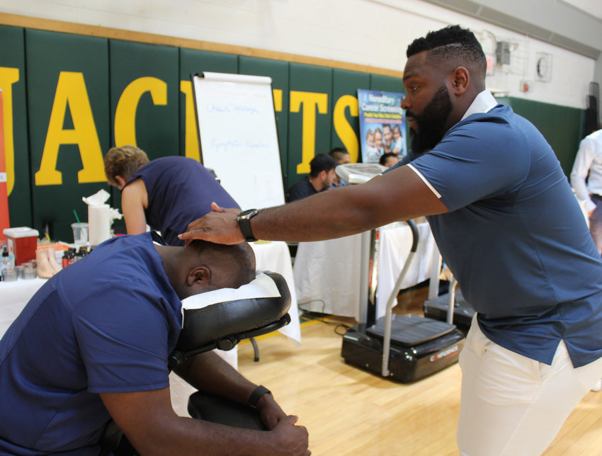 -- Chair massage was one of many offerings at the first annual Community Health Fair held at the Eldred Junior-Senior High School. The event was well received by the many area residents that attended.