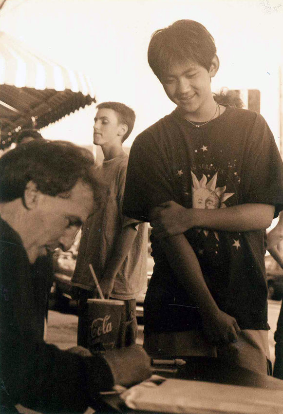 "Steven Michaels, right, formerly of Lake Huntington, is excited to receive an autograph from actor Richard Castellano, left, in 1999. Zac Stuart-Pontier is in the background. Zac's experience as a teenaged student in Richie's acting school and an actor in ""Four Deadly Reasons"" is heavily featured in the documentary."