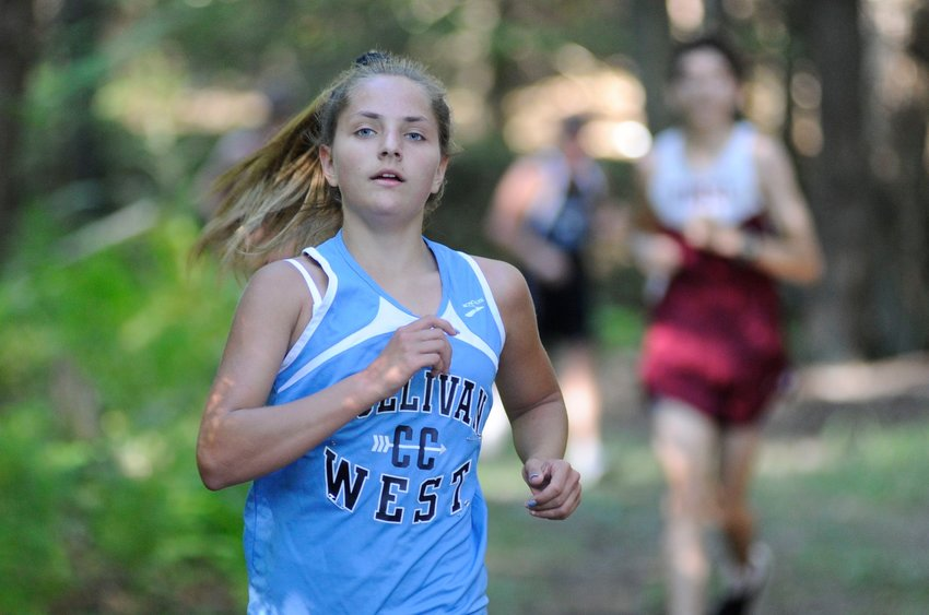 Freshman xc runner. Sullivan West's Mikayla Dirie posted a time of 27:07 to finish in third place in the girls' category, behind Ella Johnes of O'Neill's first-place time of 25:45.