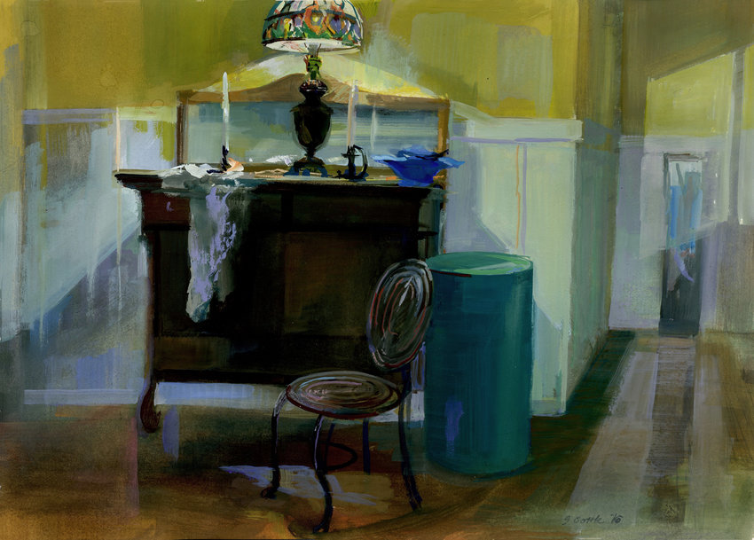"""Nightlight for Artisans,"" by Susan Cottle. The brightly-colored lamp draws the eye, then you follow the pink fabric to the floor."