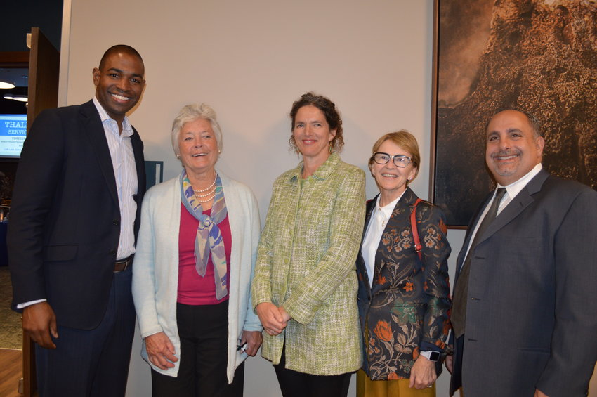Congressman Antonio Delgado, left, Patricia Adams, writer and honoree, State Senator Jen Metzger, Assemblywoman Aileen Gunther and Fallsburg Supervisor Steve Vegliante pose at the Jeffersonian Dinner on October 20.
