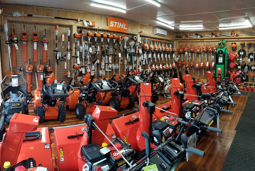 Ranks of snowblowers await us at John H. Eschenberg in Callicoon, NY.