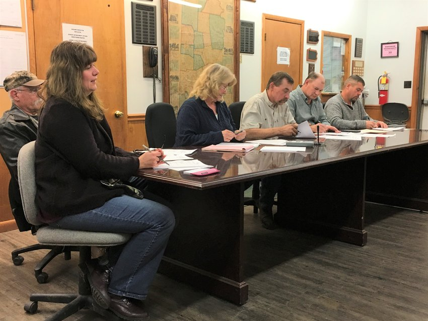 Pictured at the Damascus Board of Supervisors meeting are Melissa Haviland, left, Ed Langarenne, Dolores Card, Joseph Canfield, Steve Adams and Daniel Rutledge