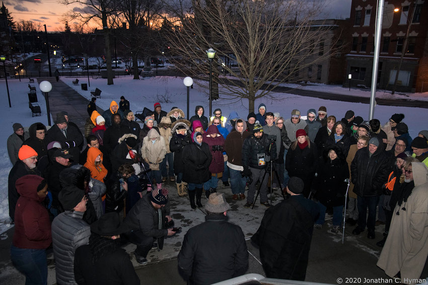 "This was the scene at the ""Hate Has No Home In Sullivan County"" rally, sponsored by the county's Human Rights Commission and Sullivan Allies Leading Together (SALT). 1/19/20"