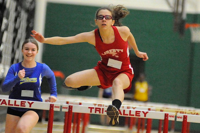 Clear sailing. Liberty's Katrina Blais finished fifth in the girls' 55m hurdles at 10.2