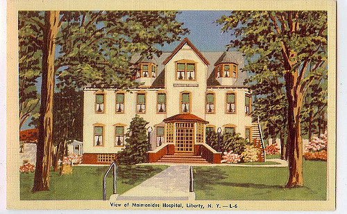 Postcard of Maimonides Hospital in Liberty. Flu patients weren't treated here – the hospital was built after the epidemic – but it's very possible that the surge of sick patients spurred its construction.